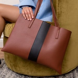 Vince Camuto Luck Vegan Leather Tote in Red Desert
